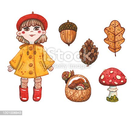 hand drawn watercolor of set with little girl in yellow raincoat, basket with mushroom, pine cone with acorn and oak leaf on white background. Autumn, picking season and illustration concept