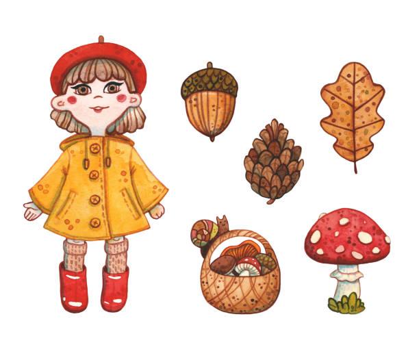 bildbanksillustrationer, clip art samt tecknat material och ikoner med höst uppsättning flicka i svamp plockning säsong - höst plocka svamp