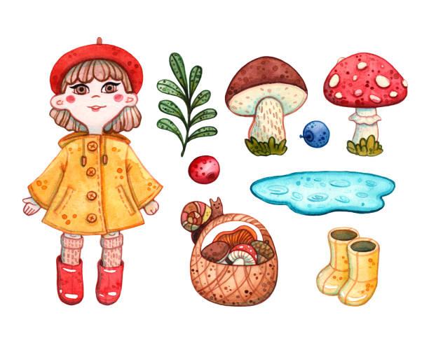 bildbanksillustrationer, clip art samt tecknat material och ikoner med höst uppsättning av flicka, svamp, korg och gumboots - höst plocka svamp