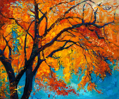Original oil painting showing beautiful Autumn tree on canvas. Modern Impressionism