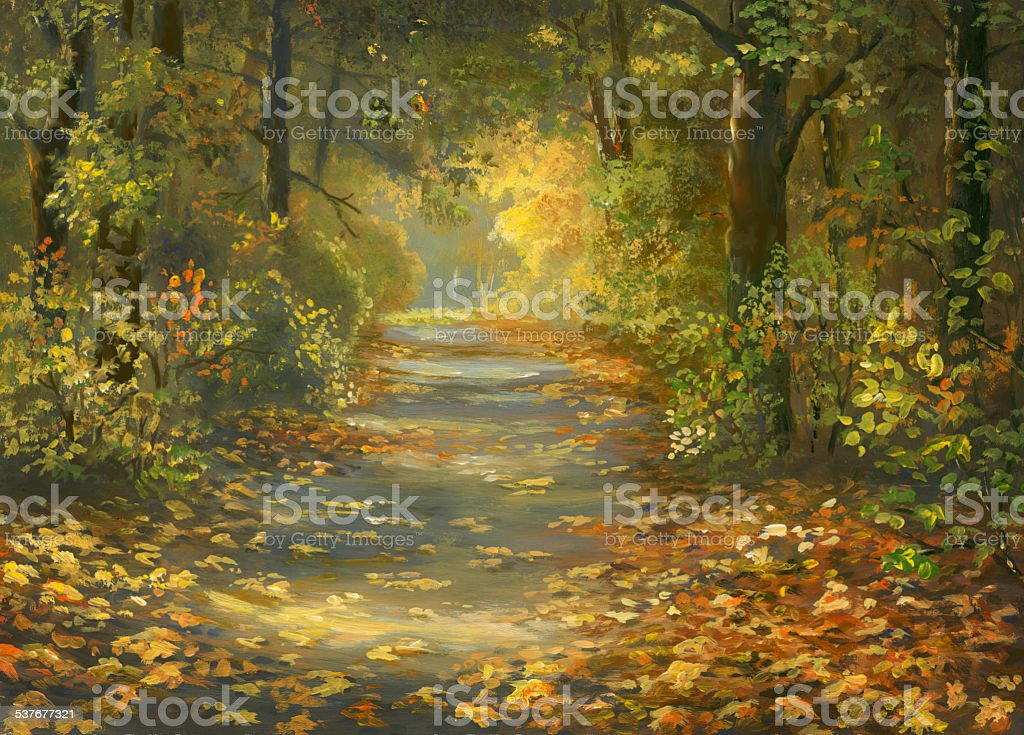 Autumn Walkway Oil Painting, my own artwork. Forest stock illustration