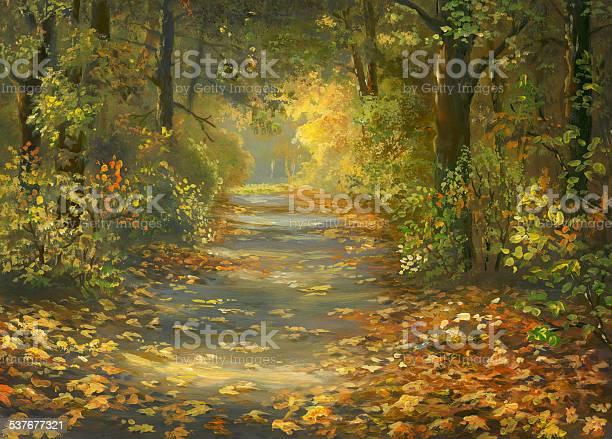 Autumn Walkway Stock Illustration - Download Image Now