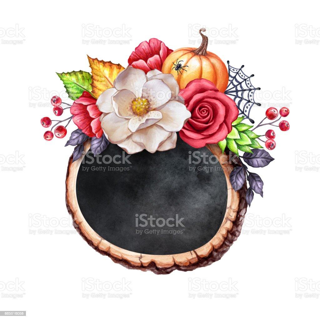 秋の白い背景に分離された水彩画ボタニカル イラストハロウィン木製