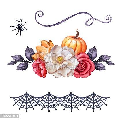Autumn Watercolor Illustration Halloween Ornaments Fall ...