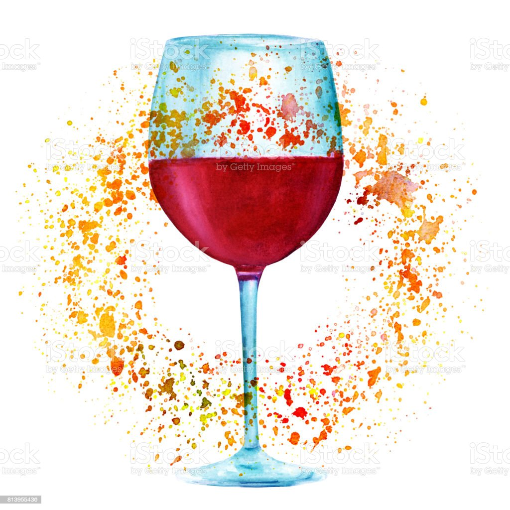 Autumn wine watercolor drawing with golden paint splashes for Painting while drinking wine