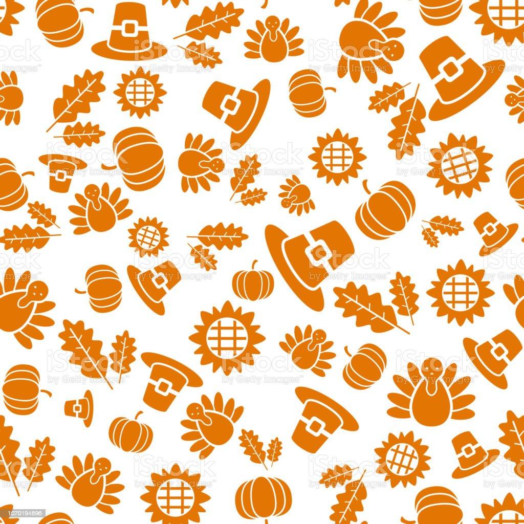 Autumnal Thanksgiving orange and white seamless pattern with turkeys,...