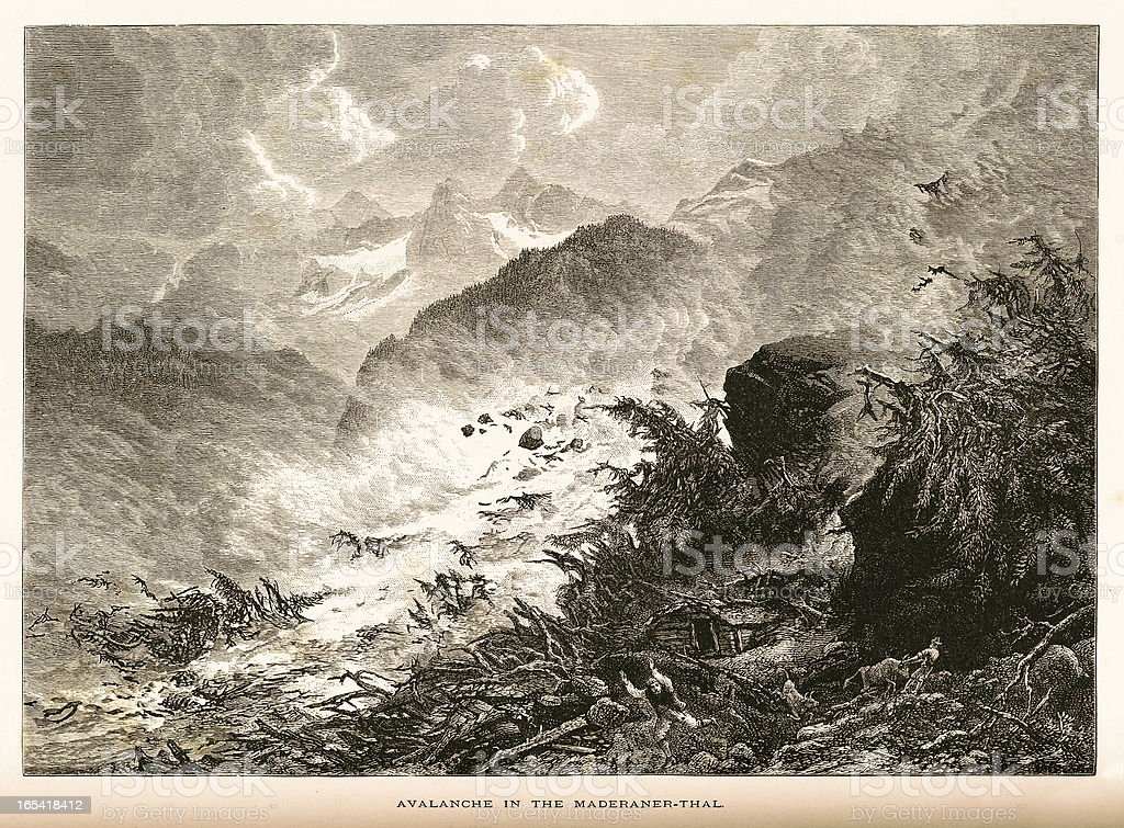 Avalanche in the Maderanerthal Alps, Switzerland royalty-free stock vector art