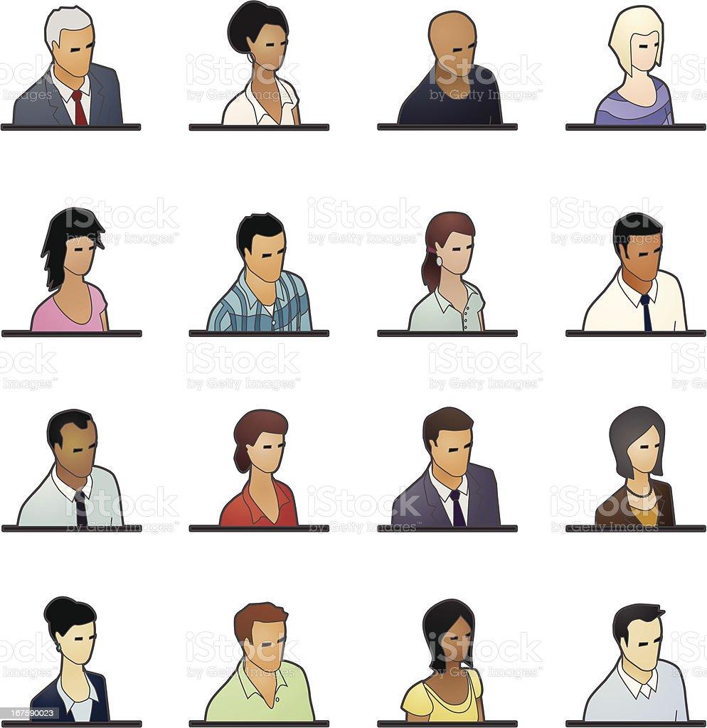 Avatar Icons: Business People vector art illustration