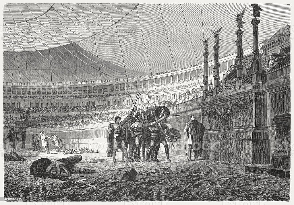 Ave Caesar. Gladiators salute the Emperor, published in 1878 vector art illustration