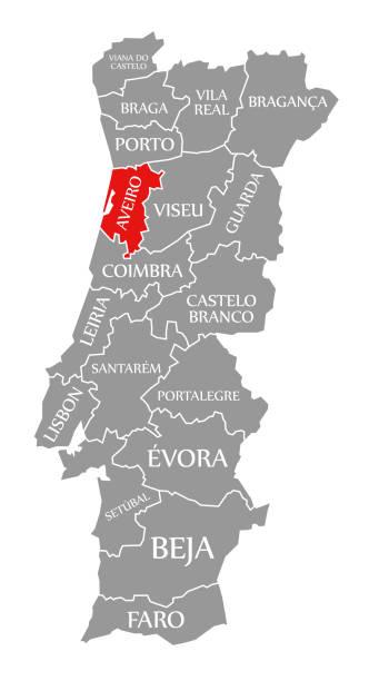 ilustrações de stock, clip art, desenhos animados e ícones de aveiro red highlighted in map of portugal - aveiro