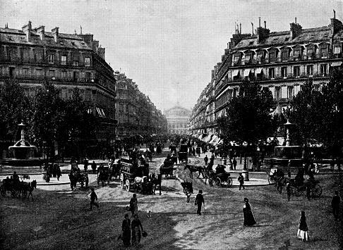 Avenue de l'Opéra in Paris, France - 19th Century