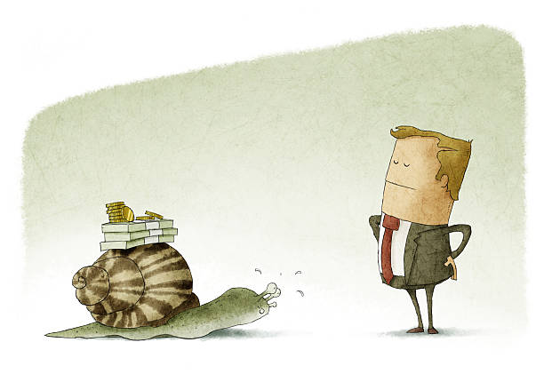 Awaiting a slow pay vector art illustration