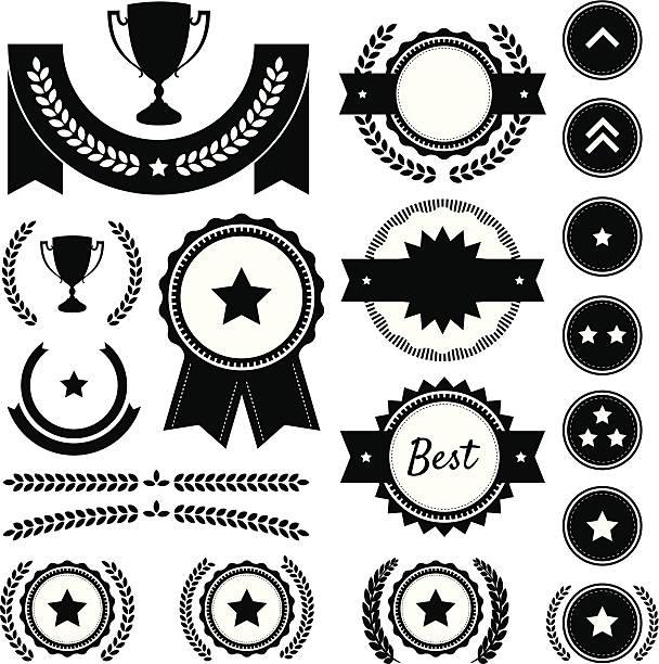 Preis, Wettbewerb und Rang Silhouette Element Vektor-Set – Vektorgrafik