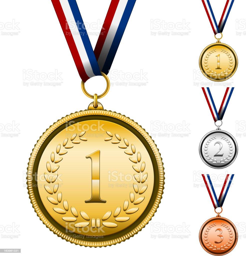 Award Medals vector art illustration