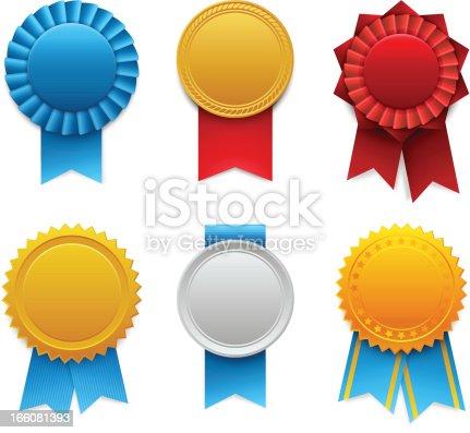 Set of colorful vector award ribbons with realistic shadows.