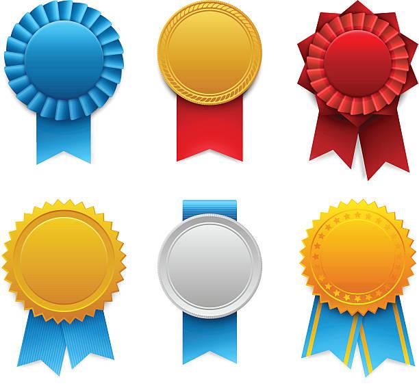 stockillustraties, clipart, cartoons en iconen met award ribbons - lintje prijs