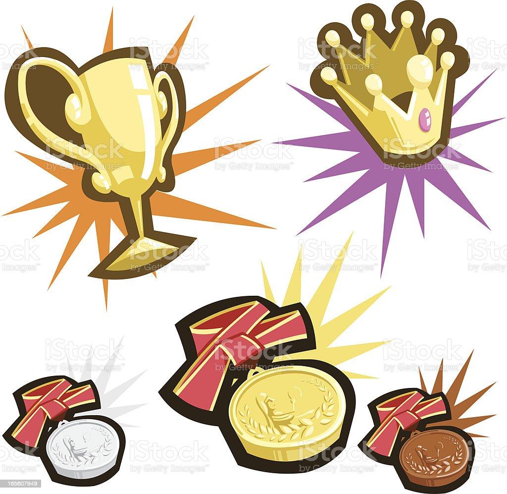 Awards in retro cartoon style royalty-free stock vector art