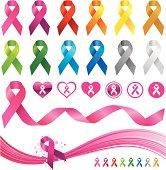 Awareness ribbons design element set