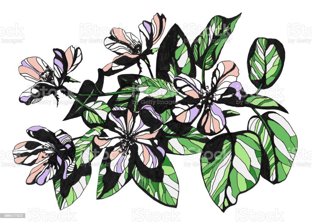 Tolle Blumen Handgezeichnete Tinte Abbildung Stock Vektor Art Und