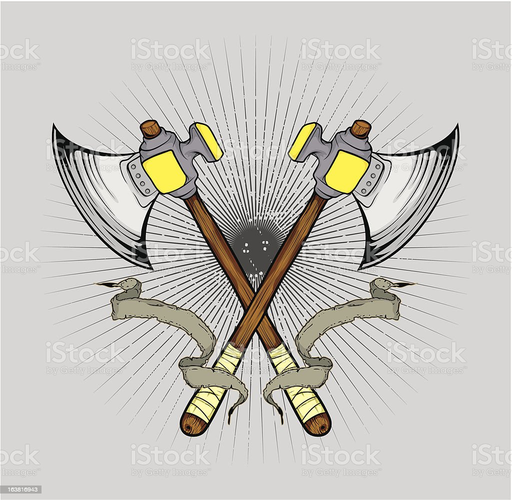 axe cross with banner royalty-free axe cross with banner stock vector art & more images of cartoon