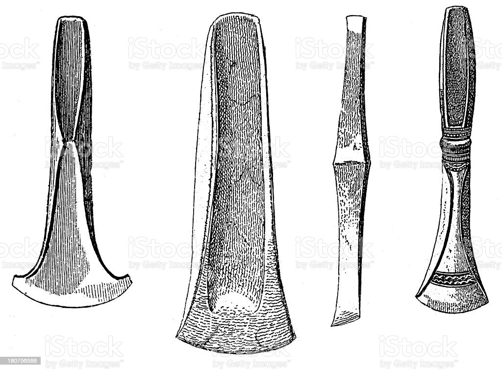 Axes and tools from Bronze Age (antique wood engraving) royalty-free stock vector art