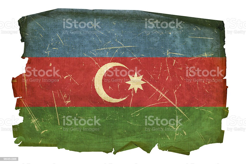 Azerbaijan Flag old, isolated on white background. royalty-free azerbaijan flag old isolated on white background stock vector art & more images of aging process