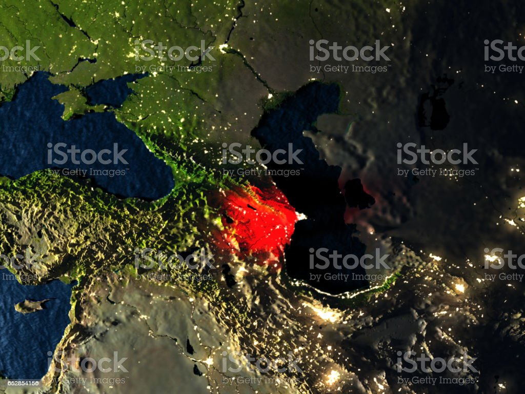 Azerbaijan in red from space at night vector art illustration