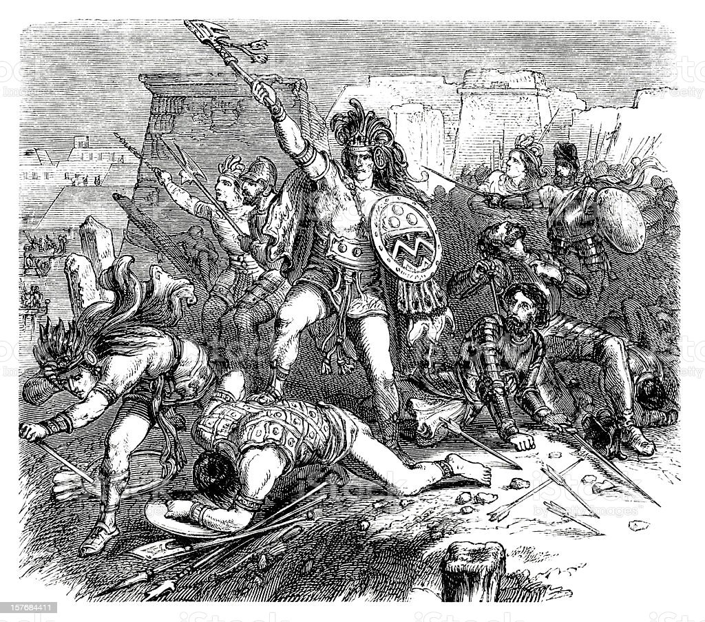 Aztec and spanish troups in a battle engraving 1870 vector art illustration