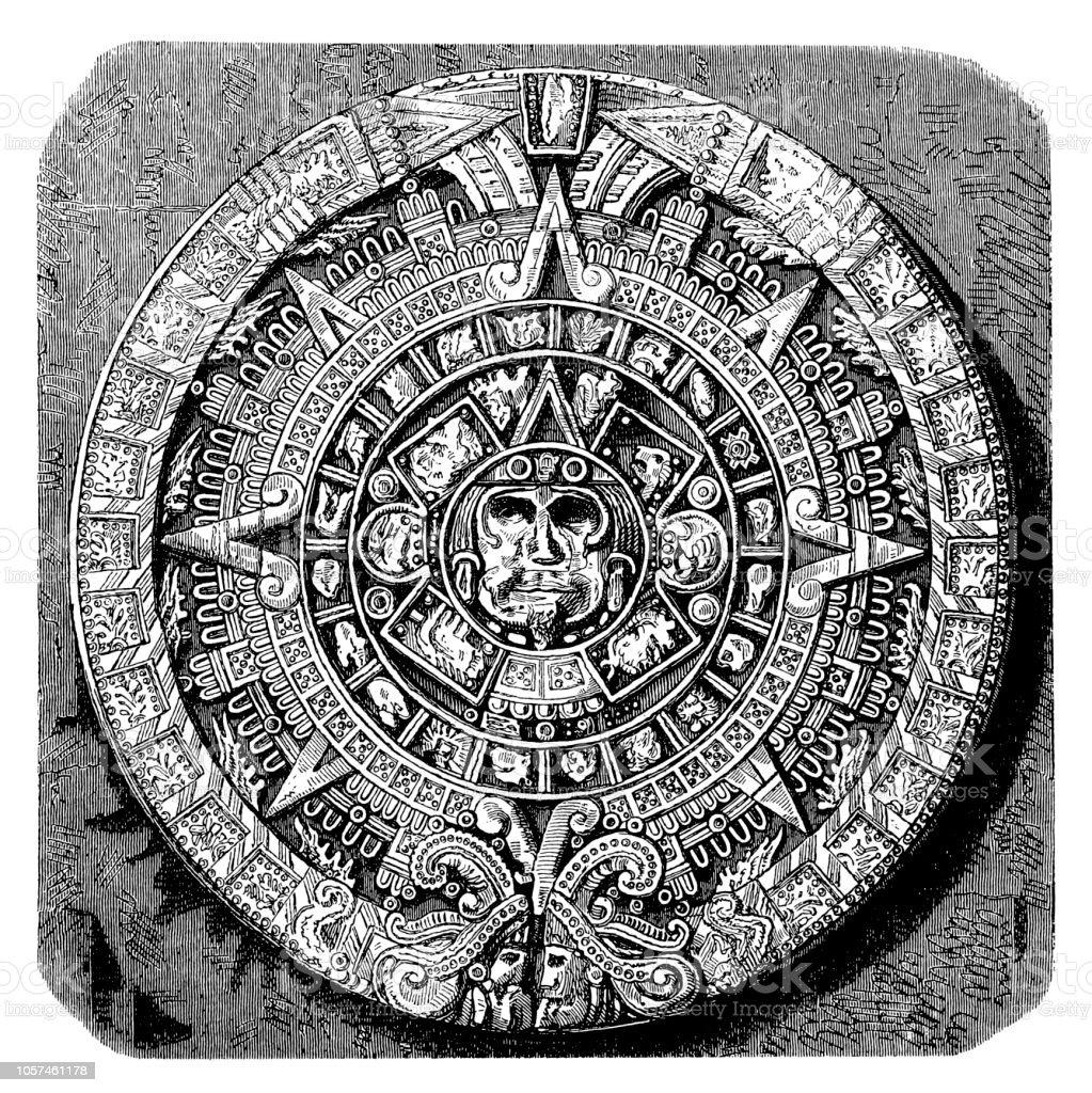 Calendario Azteca Vectores.Ilustracion De Calendario Azteca Y Mas Vectores Libres De