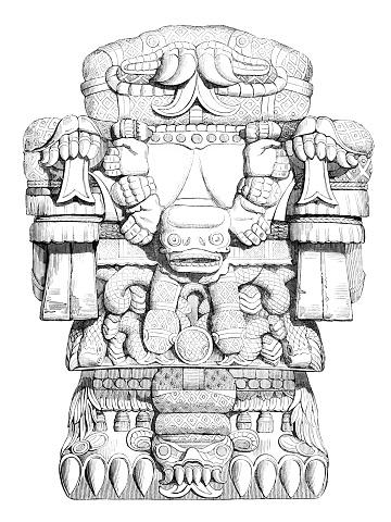 Aztec God Of Dead Lost Souls called Teoyaomicqui 1840