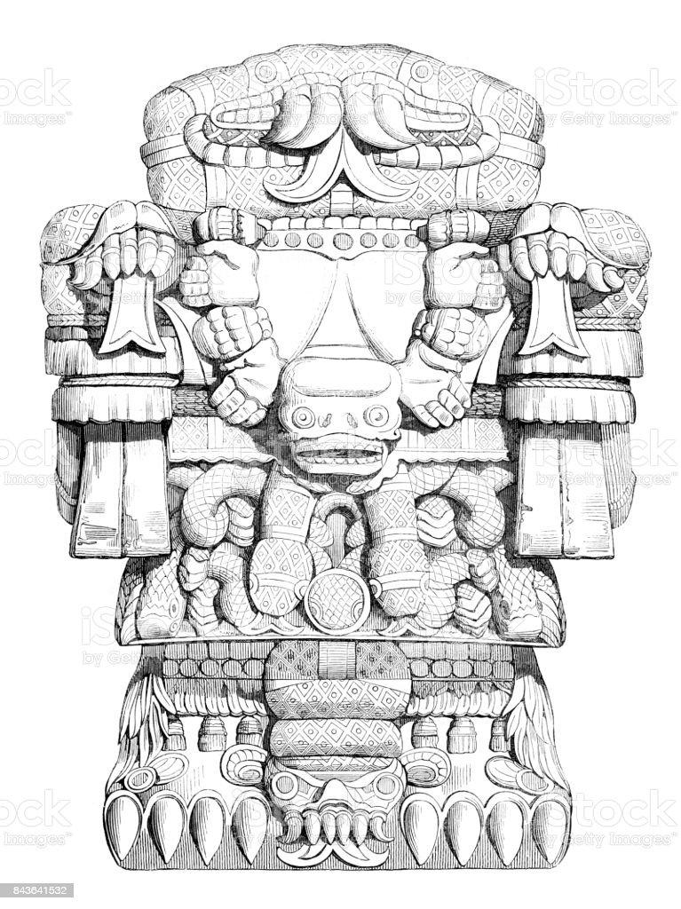 Aztec God Of Dead Lost Souls called Teoyaomicqui 1840 vector art illustration