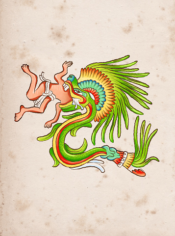 Aztec god of wind and wisdom Quetzalcoatl eating human