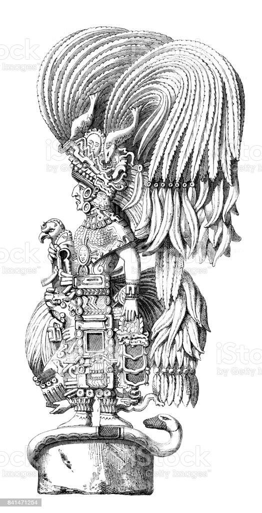 Aztec goddess statue in Yucatan Mexico 1859 vector art illustration