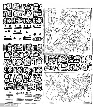 Illustration of a Aztec hieroglyphics from 1870