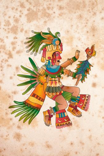 Aztec shaman illustration on aged paper