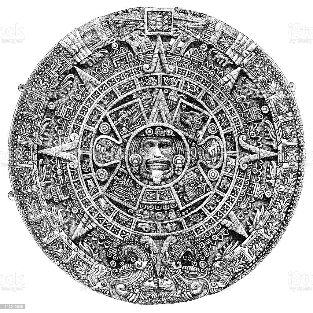 Aztec Sun Stone or Calendar, circa 1800s vector art illustration