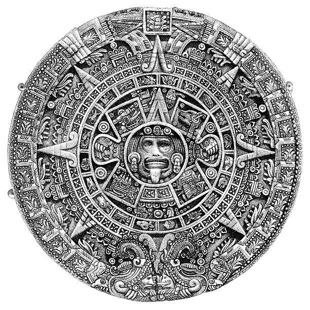 Aztec Sun Stone or Calendar, circa 1800s vector art illustration