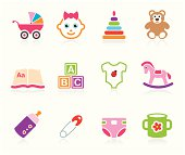 Set of baby icons for baby girls. Transparent PNG version included.