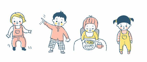 様々なポーズで4人の赤ちゃん - ベビーフード点のイラスト素材/クリップアート素材/マンガ素材/アイコン素材