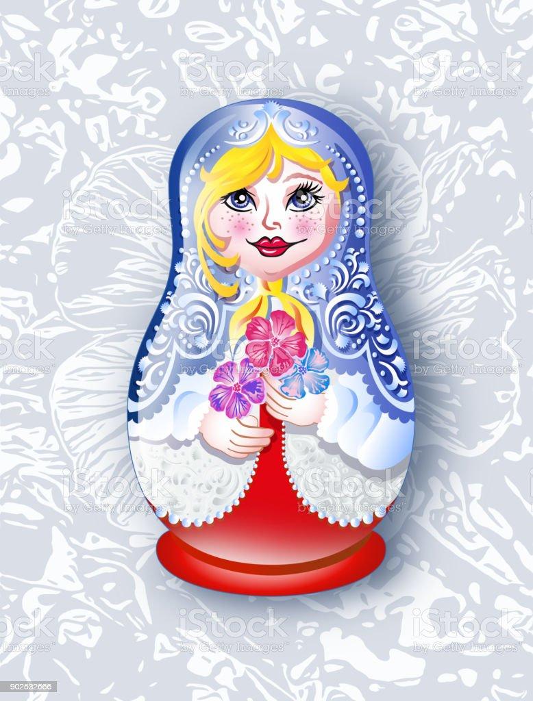 Babushka russian doll on floral background vector art illustration