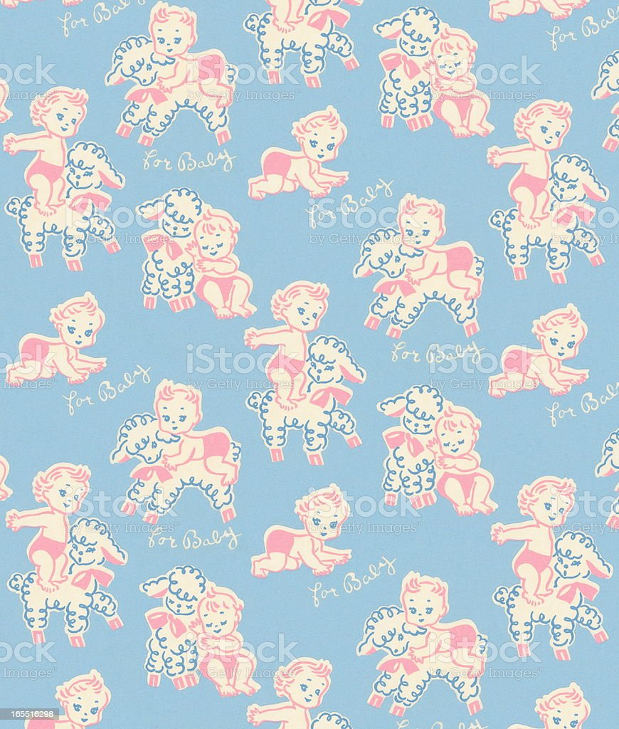 Baby and Lamb Pattern royalty-free baby and lamb pattern stock vector art & more images of animal
