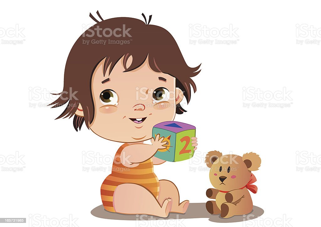Baby and Toys royalty-free stock vector art