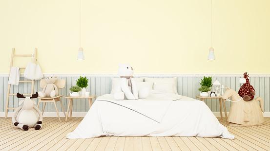 baby animal doll in bedroom or kid room