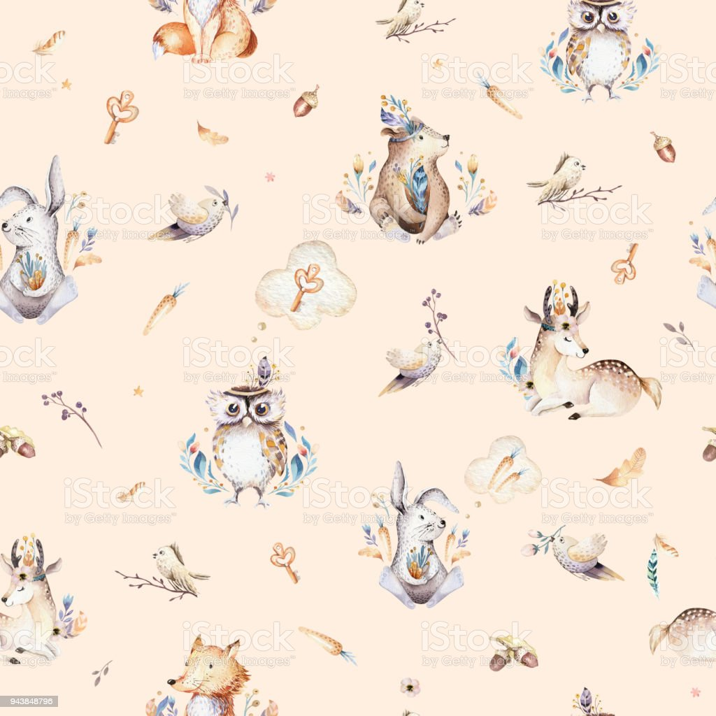 Baby Animals Nursery Isolated Seamless Pattern With Bunnies Watercolor Boho Cute Fox Deer