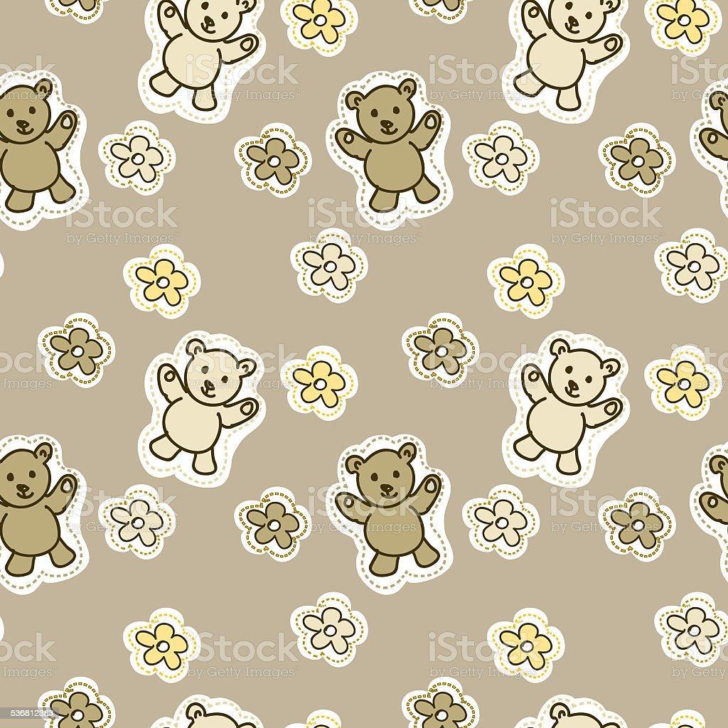 Patrón Sin Costuras Bebé Bear Animales - Arte vectorial de stock y ...