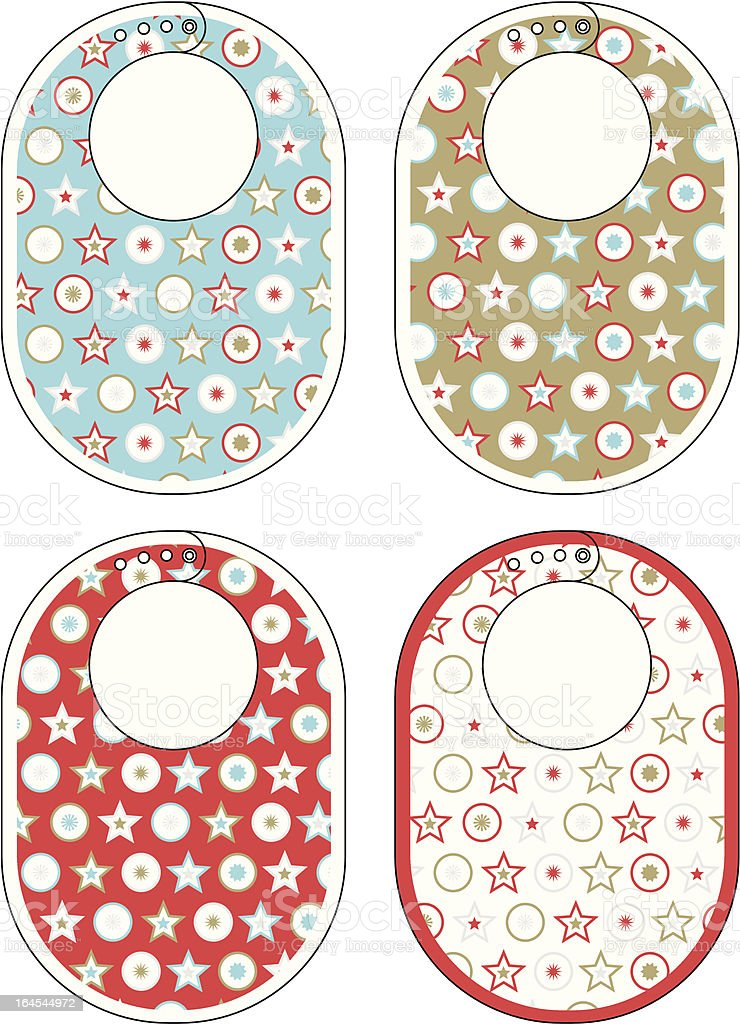 Baby Bib with Christmas Star and Circle Pattern royalty-free stock vector art