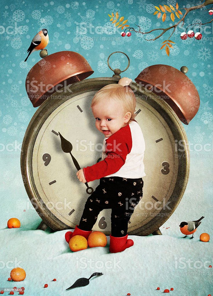 Baby boy and clock vector art illustration