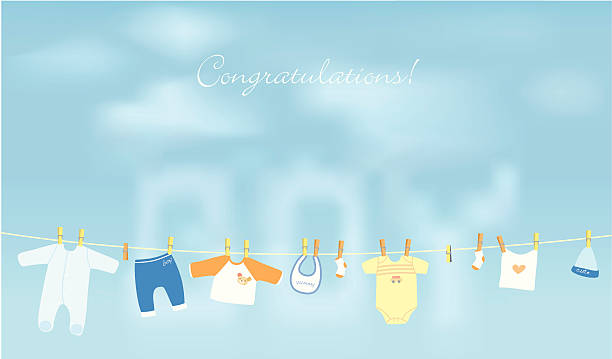 Baby Boy! Congratulations! baby clothing stock illustrations