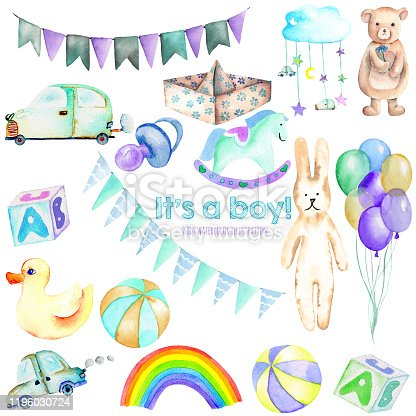 istock Baby boy shower watercolor elements set (toys, cars, air balloons, rainbow, nipple, flags and other), hand painted isolated on a white background, for DIY artworks, baby shower invitation and boy birthday 1196030724