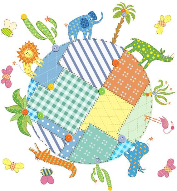 baby karte mit tieren und pflanzen auf erden - schrottplatzkunst stock-grafiken, -clipart, -cartoons und -symbole